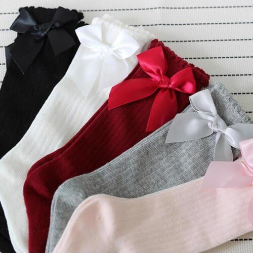 Kids Half Bow Socks High Long Soft Winter Cotton Baby Slip Socks Knee Pads Girls