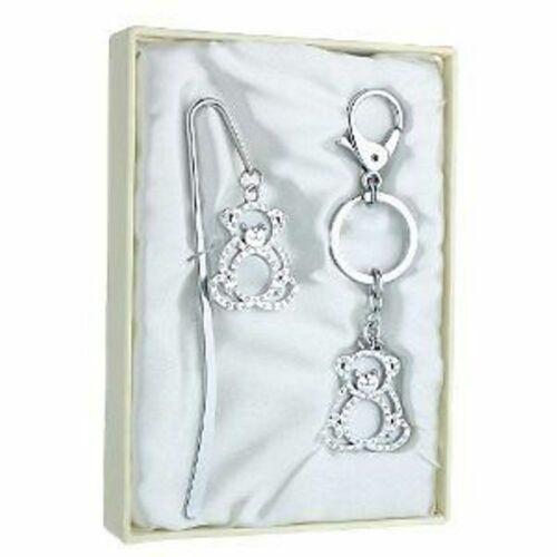 Silver Plated Teddy Bear Bookmark /& Keyring Gift Set