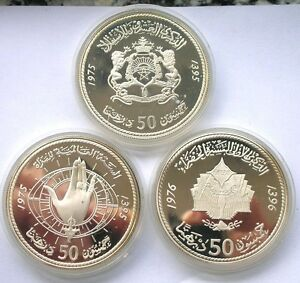 Morocco-1975-1976-Set-of-3-50-Dirhams-1oz-Silver-Coins-Proof-With-Box