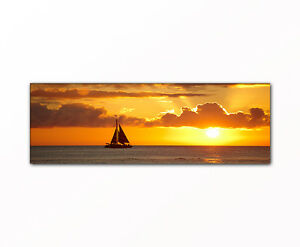 segeln in den sonnenuntergang panorama bild auf leinwand gerahmt xxl druck ebay. Black Bedroom Furniture Sets. Home Design Ideas