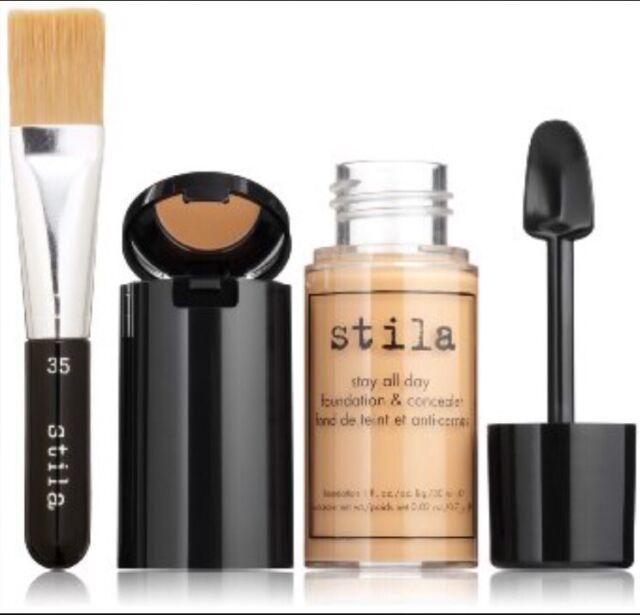 Stila Stay All Day Liq Foundation 1.0 oz Concealer & Brush Kit Color cocoa 16