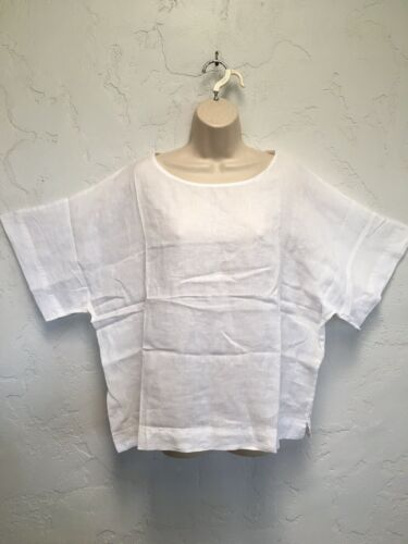 Chico's Cana II Lagenlook 100% Solid White Linen Pullover Top Size 3 XL NWT Boxy