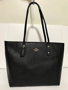 Coach F58846 City Zip Tote In Crossgrain Leather Handbag Black Gold Hardware