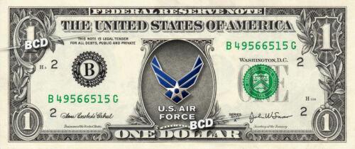 MILITARY Badge Logos on a REAL Dollar Bill Money Army Navy Air Force Marine