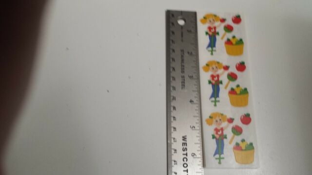 scrapbooking sandylion stickers scratch and sniff scented apple Rare