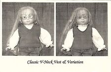 "Class V-Neck Vest Knitting Pattern 18"" Doll Clothing Renee Lagala LD-13"