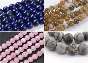 6mm-Natural-Stone-Netstone-Beads-Steinperlen-ca-30-Stueck-Faedelloch-1mm