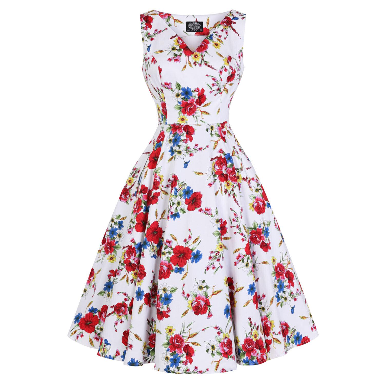 Hearts And Roses London Bianco,Fiori Acquarello Vintage Retrò 1950s Abito