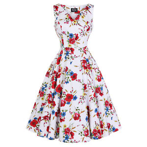 Hearts-and-Roses-London-White-Floral-Watercolour-Vintage-Retro-1950s-Sun-Dress