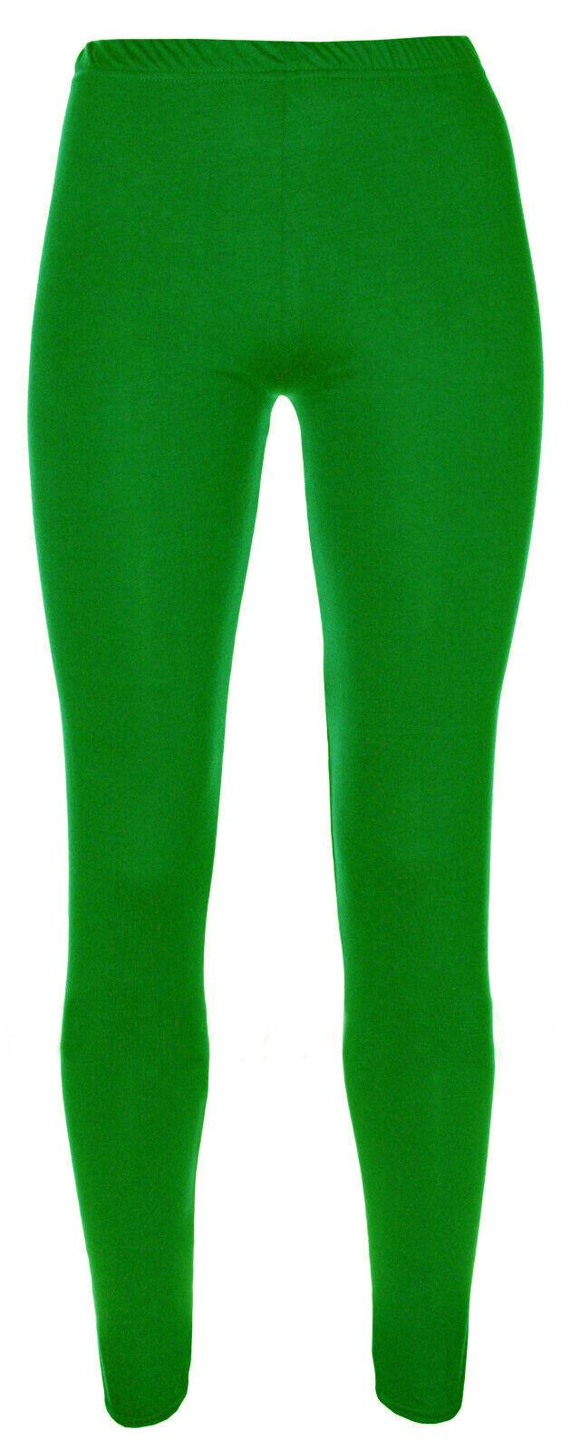 Ages 2-13 20+ Colours Girls Plain Legging Full Length Dance Brown Black Green