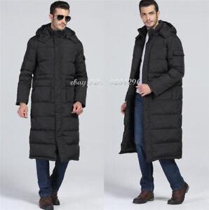 Details zu Herren Daunenjacke über Knielange Mantel Wärmejacke Winter Mantel Lange Schwarz
