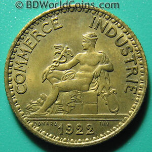 1922 FRANCE 1 ONE FRANC CHAMBER OF COMMERCE FRENCH WORLD COIN AL-BR 23mm