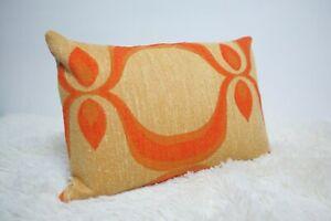 """Original Retro Fabric Cushion Cover 70s 12x18"""" Orange Caravan Geometric"""
