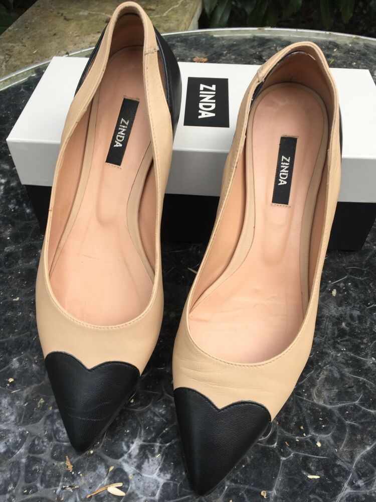 à Condition De Zinda Pointe Ballerines 39 Chaussures Basses Nude Noir Two Tone Bloggger Miu Cœur