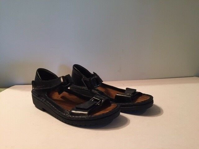 NAOT Women's Chunky Black Leather Strap Sandals Size 41 EU 9-9.5 US