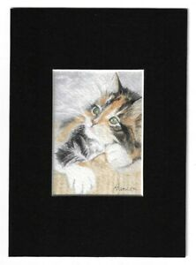 ACEO-Original-CALICO-KITTEN-CAT-Miniature-Watercolor-Painting-w-Mat-Sunshine