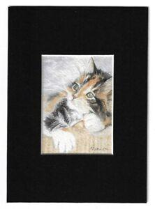 ACEO Original CALICO KITTEN CAT Miniature Watercolor Painting w/Mat - Sunshine