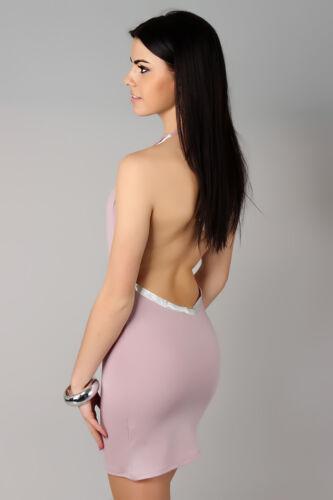 Sensual Cowl Neck Women/'s Dress Open Back Sleeveless Bodycon Size 8-12 8504