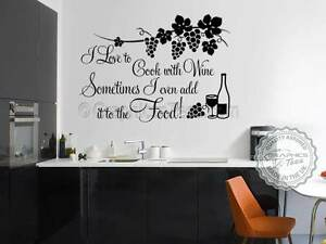 Kitchen Wall Sticker, Cook With Wine, Funny Kitchen Cooking Quote ...