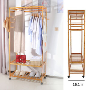 Details about Clothes Rail Open Wardrobe Stand Bedroom Storage Shelves Shoe  Rack Display Unit