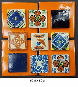5cm-x-5cm-Hand-Made-Ceramic-Mexican-Wall-Tile-Painted-Terracotta-Tiles-various