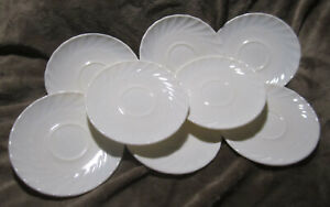Arcopal-Trianon-Moonlight-White-Ivory-Scalloped-5-5-034-Small-Plates-Swirled-Lot-8