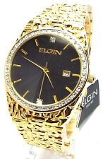 Elgin Man Gold-tone, Black-dial Dress  Watch, FG6001