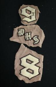 SET OF 3 VINTAGE 1950'S SCHOOL SWEATER LETTERS BROWN AND WHITE PATCHES