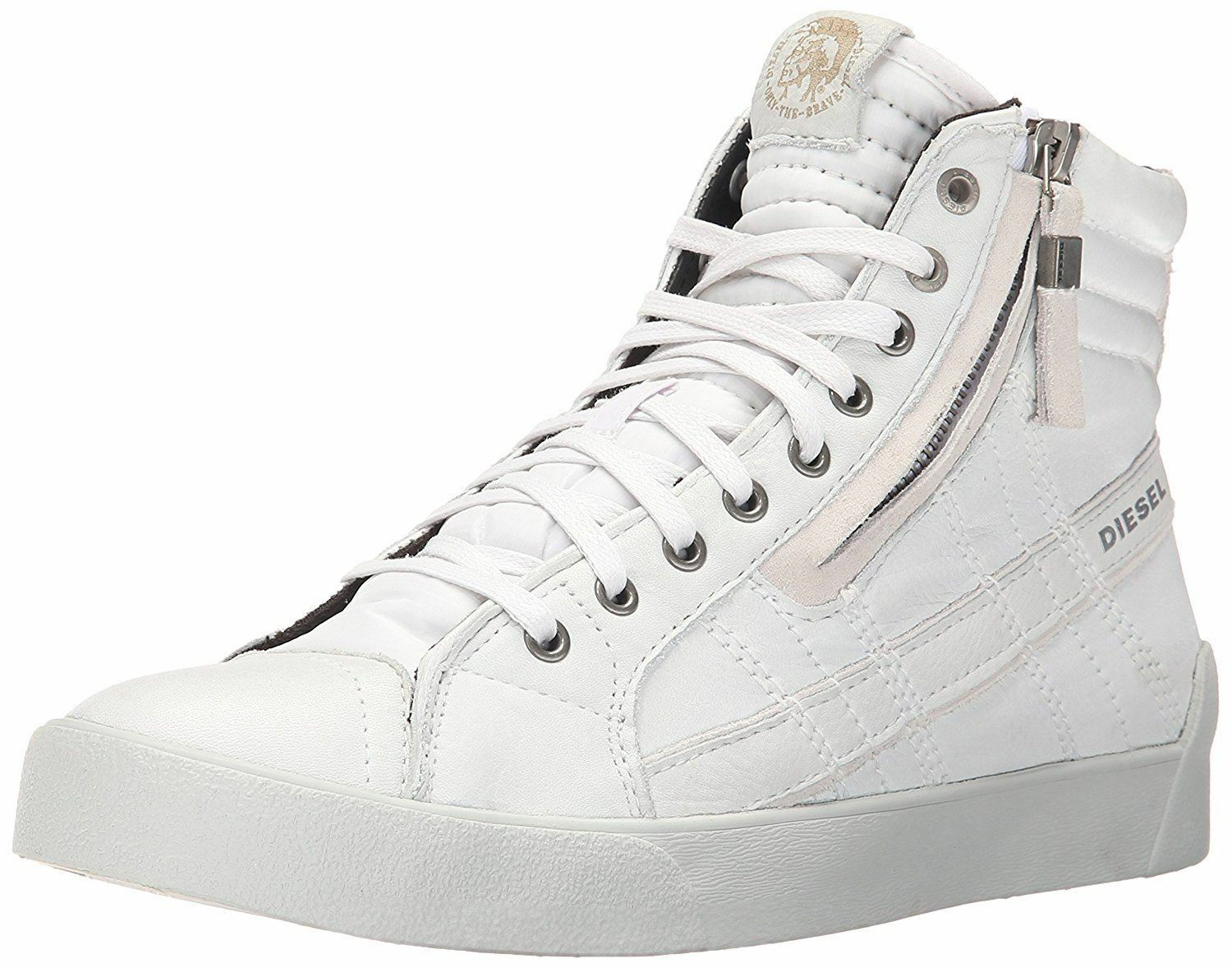 Diesel D Velows D String Plus White Mens Leather Hi Trainers