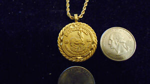 44d53cea73a0e Details about bling gold plated casino 1980 krugerrand pendant charm  necklace hip hop jewelry