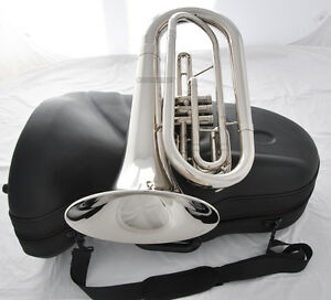 Professional-Marching-Baritone-Silver-Nickel-Plated-Bb-Tuba-Horn-With-Case