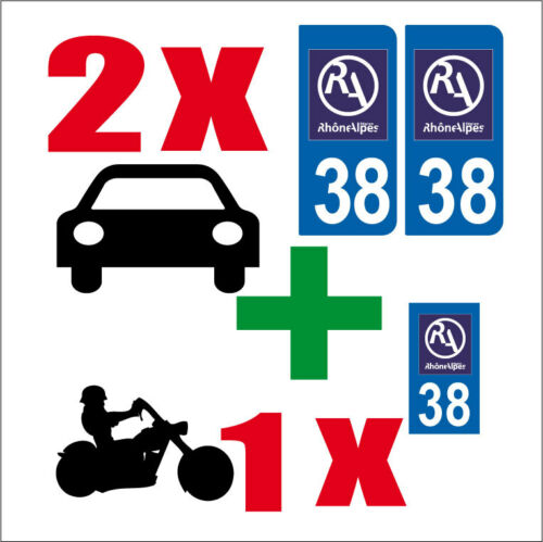 Lot 3 STICKERS 2 x AUTO+1x MOTO STYLE PLAQUE IMMATRICULATION ISERE 38 RA