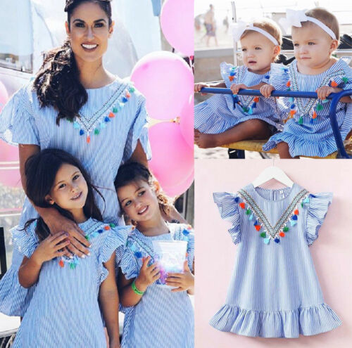 Pretty Toddler Baby Kids Girls Retro Striped Summer Dress Party Sundress Clothes