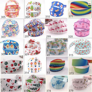 Wholesale-5-10yds-1-039-039-25mm-printed-grosgrain-ribbon-Hair-bow-sewing-Crafts