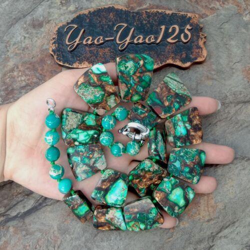 "18/"" Green Sea Sediment Imperial Jasper Graduée Collier"