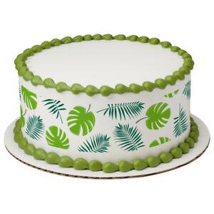 Tropical-Paradise-Leaves-Edible-Cake-Border-Decoration-Set-of-3-Strips