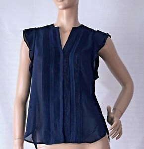 H-amp-M-SIZE-12-NAVY-BLUE-PINTUCK-PLEATED-BLOUSE-BNWT