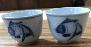 2-Blue-Koi-Fish-Asian-Finger-Bowls-Tea-Cups-Porcelain-Ceramic-Hans-Painted