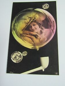 New Reproduction 1906 Photographic Woman In Soap Bubble Postcard P144