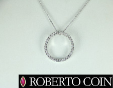 $1,140 Roberto Coin Tiny Treasure 19mm O Circle Of Life Diamond Pendant Necklace