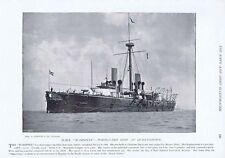 HMS Warspite Portguard Ship at Queenstown - Antique Photographic Print 1896
