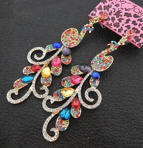 Women-039-s-Colorful-Glass-Crystal-Peacock-Betsey-Johnson-Drop-Earrings