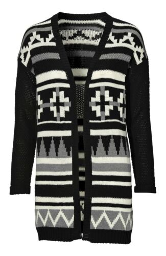Ladies UK Plus Size 6-24 Black or Ivory Aztec Abstract Cardigan