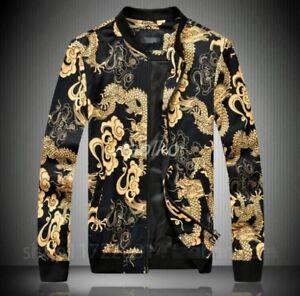Mens-Chinese-Dragon-Printed-Sand-collar-Bomber-BF-Baseball-Coat-Jacket-Casual-sz