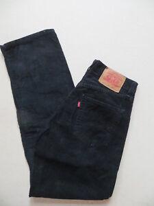Levi-039-s-521-Cord-Jeans-Hose-W-31-30-L-32-Schwarz-Original-Oldschool-Cordhose