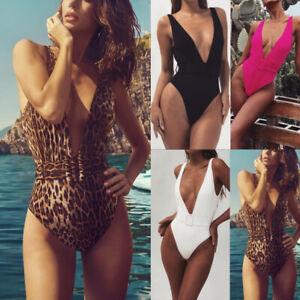 Womens-Bikini-Swimming-Costume-Deep-V-neck-One-Piece-Swimsuit-Monokini-Swimwear