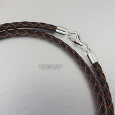 4a568e0ad29f item 1 Sterling Silver 3mm Braided Genuine Leather Cord Necklace Bracelet  Lobster Clasp -Sterling Silver 3mm Braided Genuine Leather Cord Necklace  Bracelet ...