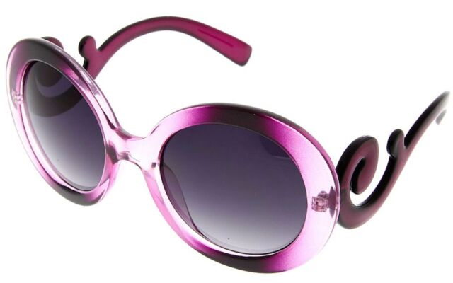 Purple Womens Designer Inspired Round Sunglasses Baroque Style Swirl Arm Fashion Ebay