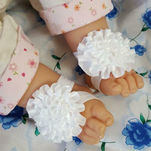 Baby Girls Lace Hair Band Barefoot Sandals Foot Flower Pearl Drill Headband