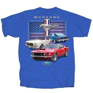 Ford-Mustang-Classic-Red-White-ROYAL-BLUE-Adult-T-shirt